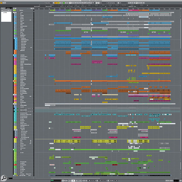 This composite screenshot shows the complete Cubase project for Kirkpatrick's completed rough mix, including nearly 100 tracks.