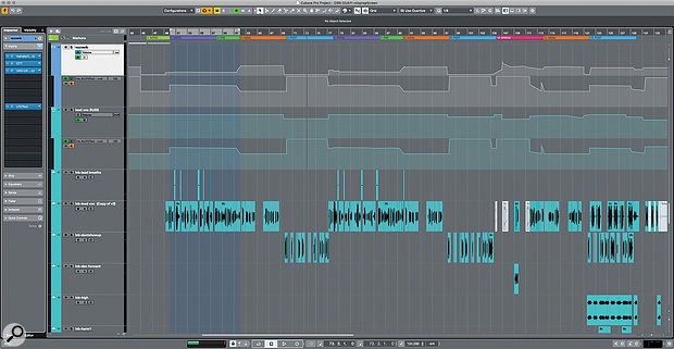 Inside Track: Dua Lipa 'Don't Start Now' - Cubase screenshot of the comped Lead Vocal tracks.