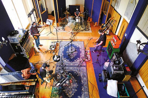 Mogwai mid‑session at VADA studios.