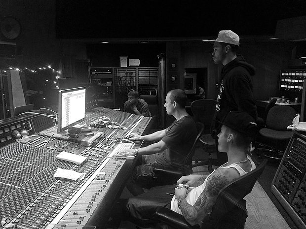 The mix of 'Sorry' was partly done at Henson Studio D, as were various other sessions for the album. This photo from one of the Henson sessions shows the room's SSL G+ console with, left to right, engineer Peter Mack, Josh Gudwin, producer Maejor Ali and Justin Bieber.