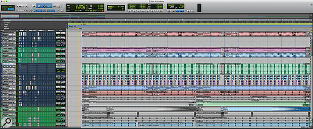 This view of the Pro Tools Edit window shows some of the beats, which were programmed in some cases by cutting and pasting audio clips rather than using MIDI. Although the vertical waveform zoom level has been raised to make the contents of each clip visible, Pro Tools' Clip Gain feature has been used to reduce most of them in level by up to 15dB.