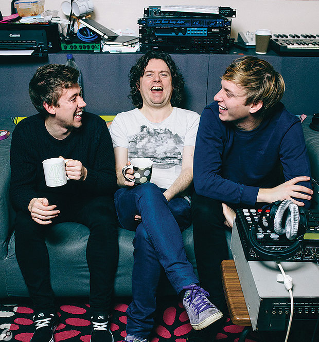 Cam Blackwood (centre) and George Ezra share a lighter moment with engineer Liam Thorne (left), who tracked the album.