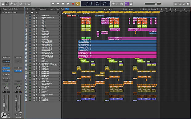 This screenshot shows the entire 54‑track Logic project from Sky Adams' mix of 'Dancing'.