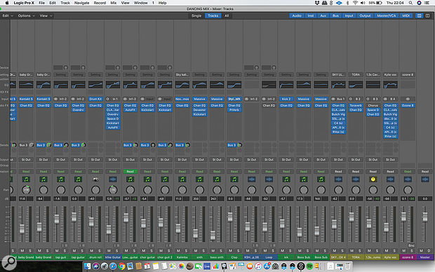This Logic mixer screenshot reveals Adams' plug‑in choices as well as his extensive use of the built‑in Channel EQ.