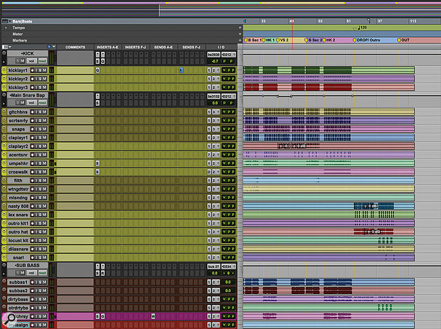 This section from the Pro Tools Edit window shows the 'music' tracks in Rob Kinelski's mix for 'Bad Guy'.