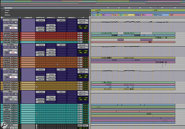 Nearly half the audio tracks in the 'Bad Guy' session make up the elaborate vocal arrangement.