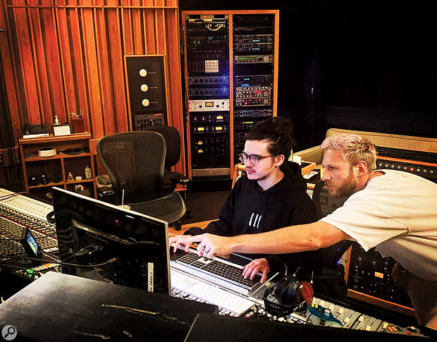 Tom Norris (left) with Matthew Burns during the Chromatica sessions.