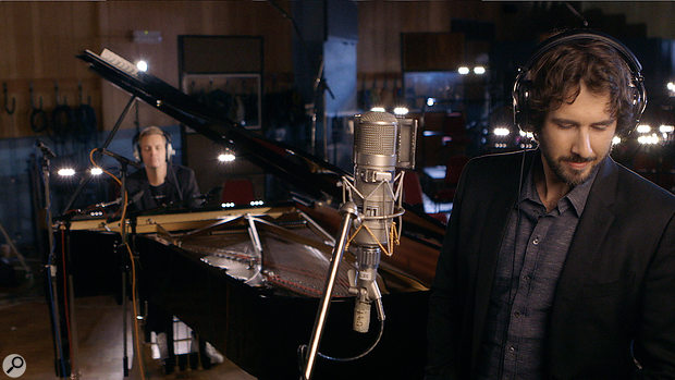 Producer and arranger Bernie Herms (left) and Josh Groban at Abbey Road, where the orchestral parts for Stages were recorded.