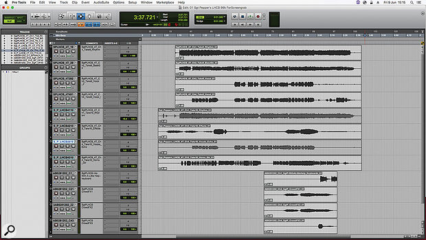 The first Pro Tools session for the album's title track, containing only the transfers from the source four-track tapes. The muted regions are bounces that were no longer needed in the remix, since Martin and Okell had access to the original tracks.