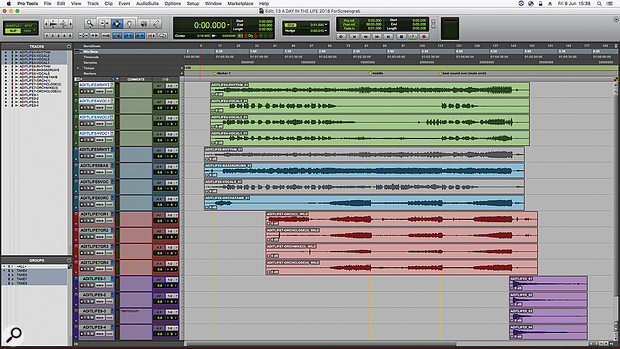 Including the separate chord at the end, the source materials for 'A Day In The Life' consisted of four four-track tapes. Again, unneeded bounces are muted in this screenshot.