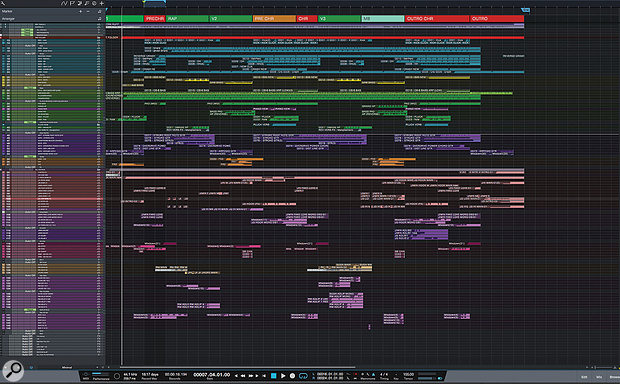 This zoomed‑out view shows the entire PreSonus Studio One arrange page for the 'Fake Love' mixing session.