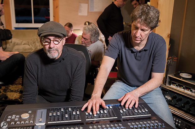 James Taylor (left) and Dave O'Donnell at work in the former's Barn studio.