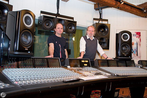 Bernard Löhr and Benny Andersson with Mono Music's SSL Duality console.
