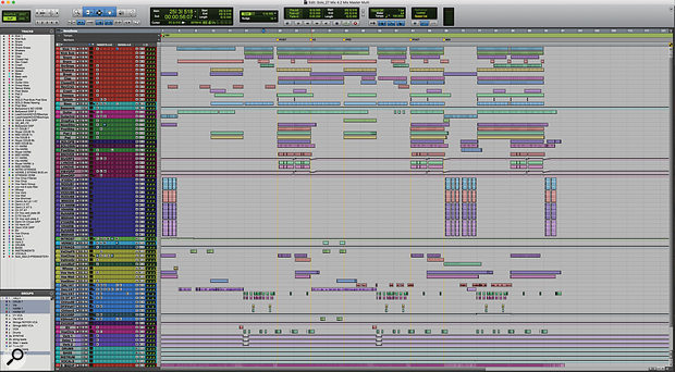 To give you an overview, this Pro Tools screen shows the entire mix session for 'Solo'.
