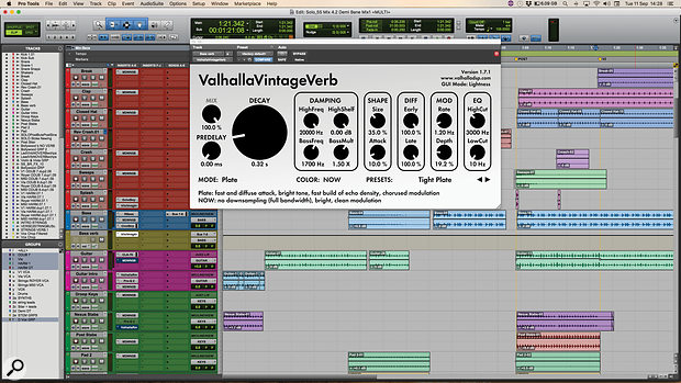 An unusual use for Valhalla's VintageVerb: Mark Ralph employed it on the bass.