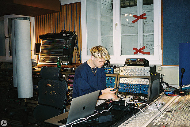 Joba at one of the workstations the band set up throughout Studio3, allowing all their beatmakers to work simultaneously.