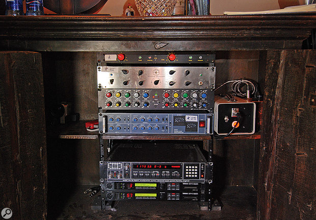 Gatica's small rack of vital outboard equipment. At the top is the custom‑made Eduardo Fayed preamp he uses on Michael Bublé's vocals; beneath that are Lang and GML equalisers, Neve 33609 stereo compressor, AMS RMX16 reverb and two humble Yamaha SPX990 multi‑effects units.