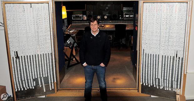 Cenzo Townshend in his mixing room at Metropolis. Note the scribble‑strip curtains!
