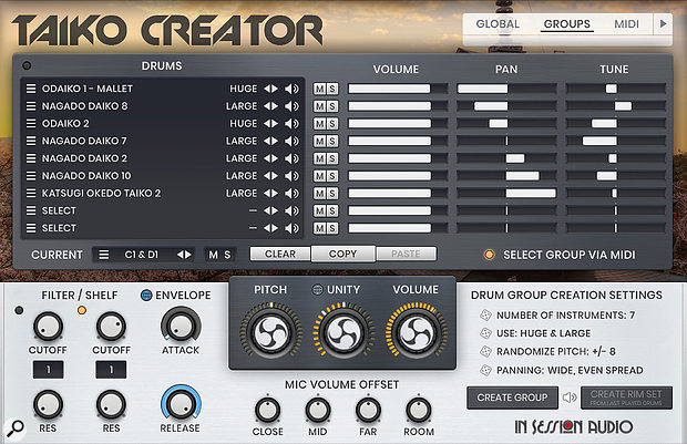 The Groups page, where kits are created and edited either manually, or using the Drum Group Creation tools that randomise instruments according to specified parameters, or a combination of both methods. The lower panel settings are unique to each Group, offering maximum flexibility.