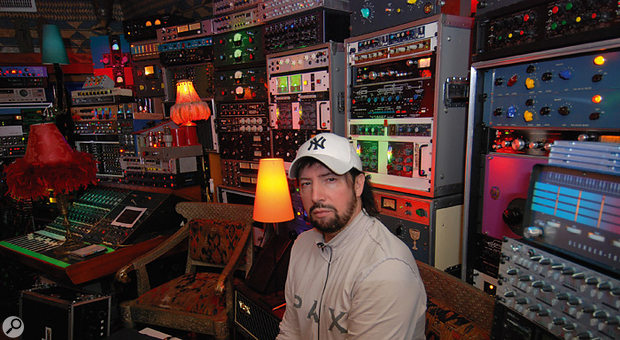 Jack Joseph Puig in his mix room at Ocean Way Studios, with its amazing collection of vintage outboard gear.
