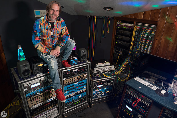 David Reitzas and his extensive collection of outboard processors.