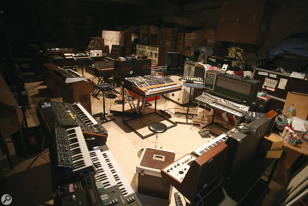 The massive live area–cum–store–room in Jarre's Paris studio, with synths set up as they were for the performance of <em>Oxygene</em> on the <em>Live In Your Living Room</em> DVD.