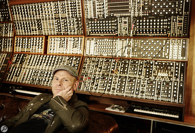 Self-confessed 'big nerd' Tom Holkenborg (aka Junkie XL) with his small collection of synth modules.