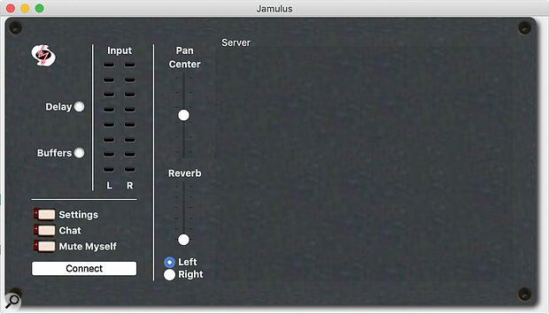 Screen 1: What you'll see when you first open the Jamulus client.