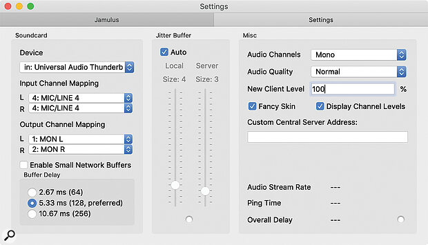 Screen2: The settings page, where you tell Jamulus which audio inputs to use.