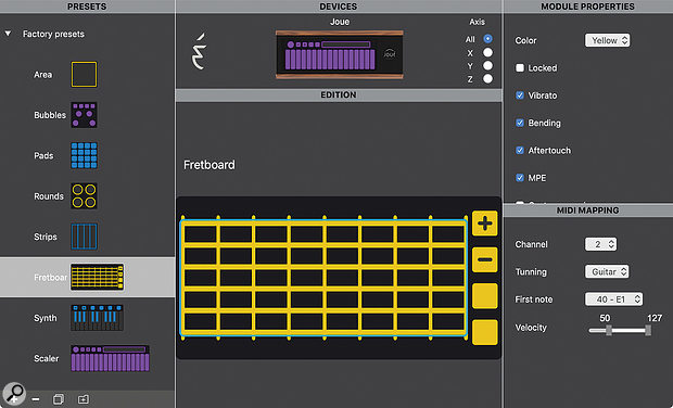 The Joué editor. A Fretboard preset is open for editing, although the device itself is running the chromatic Scaler module.
