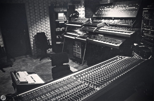 For 1985's Big Trouble In Little China, Alan Howarth had moved to a new house and a new studio, christened Electric Melody. Among the newer equipment visible in this photo is an Apple Mac Plus computer (at rear, top centre) and an E-mu Systems Emulator sampler (centre right).