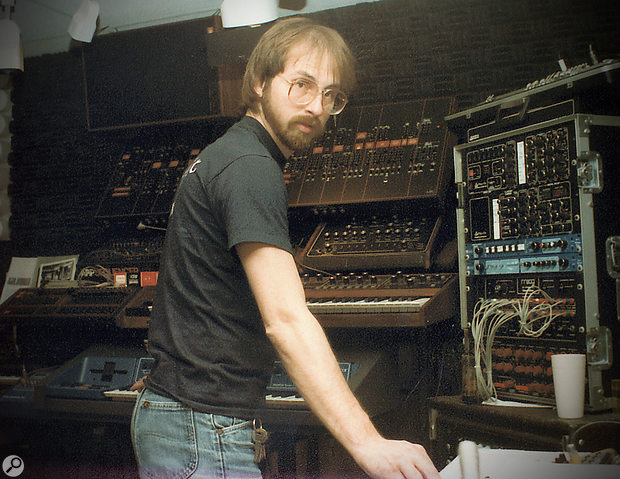 Alan Howarth at work in his Electric Melody Studios, 1985.