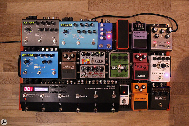 Joe Rubel's custom-made pedalboard.