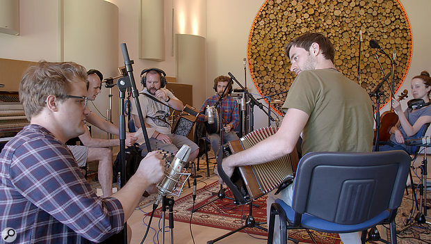 The sessions with Irish band Beoga at Decoy Studios saw Ed Sheeran recording 'live on the floor' for the first time.