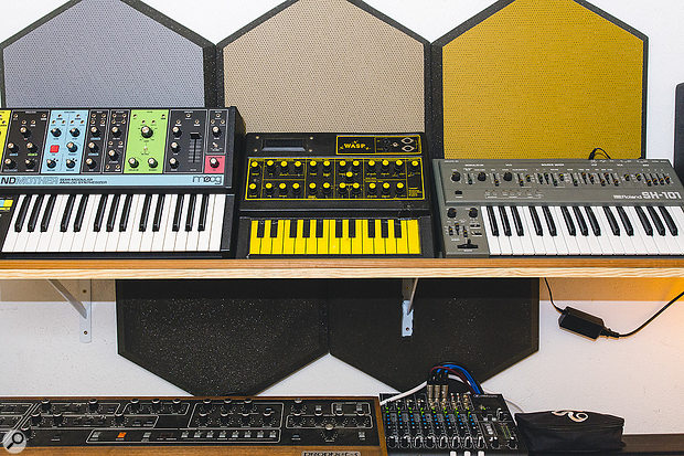 Despite being a Buchla devotee, other instruments make regular appearances in Smith's work. Pictured are her Moog Grandmother, EDP Wasp, Roland SH‑101 and, below, a Sequential Circuits Prophet-5.