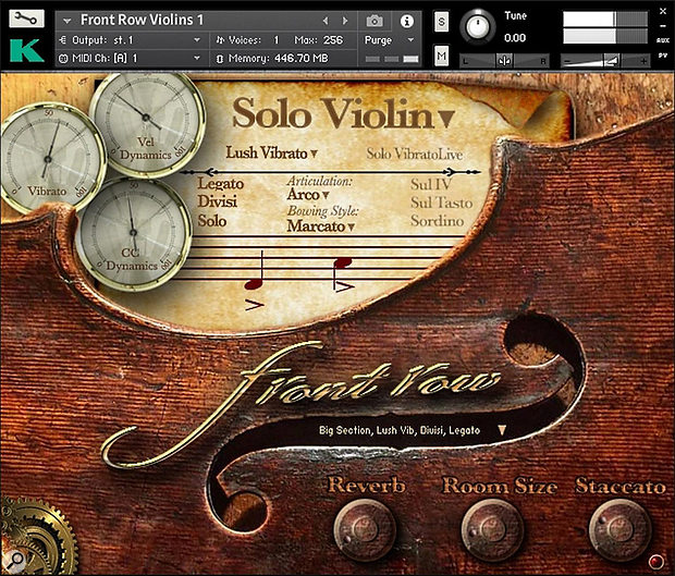 FRV's main GUI. The notation symbols on the stave change as you play, reflecting the currently active bowing style. The three dials give visual feedback of vibrato amount, key velocity and MIDI CC dynamics.