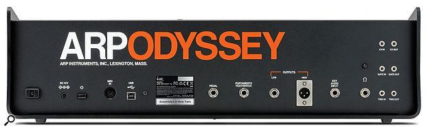 Korg ARP Odyssey FSQ rear panel.