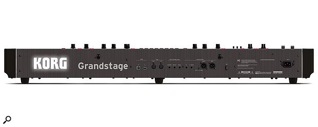 The Grandstage's rear panel includes an IEC mains port, USB Aand B ports, MIDI I/O sockets, three quarter-inch jack footpedal inputs and stereo audio outputs on quarter-inch jack and XLR sockets.