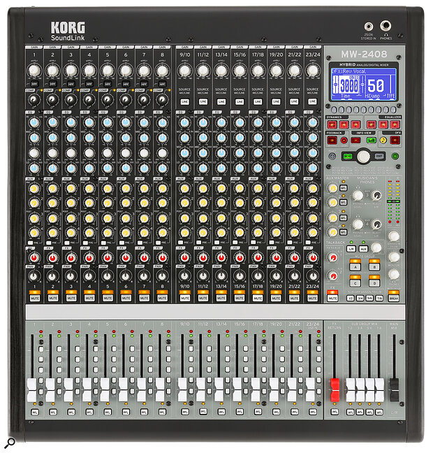 The first eight channels are mono mic/line affairs, each with their own one‑knob compressor. Channels 9‑24 can be used either as stereo line‑input channels, or mono mic channels.press pic
