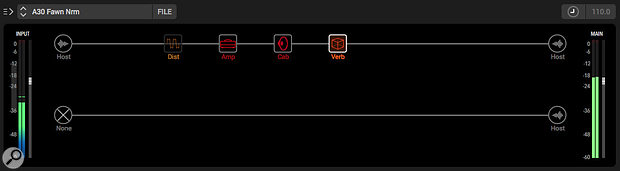 The Signal Flow panel allows you to build your virtual guitar rig, control the signal flow, and turn individual components on and off. And, as shown here, despite the power offered by Native, rigs can be kept simple if preferred.