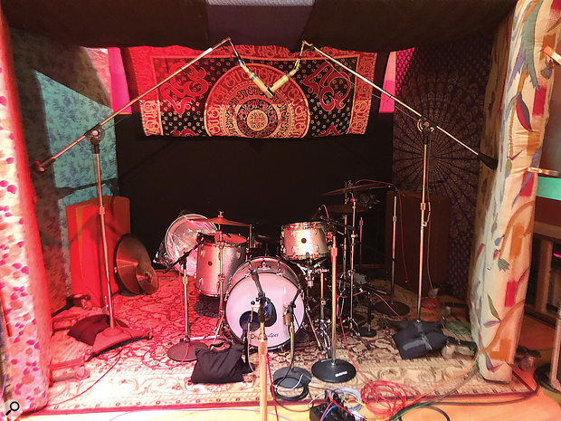 A typical drum setup from the Norman sessions.