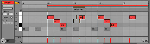 Multi‑editing makes it possible to examine several MIDI clips in the same Detail View.