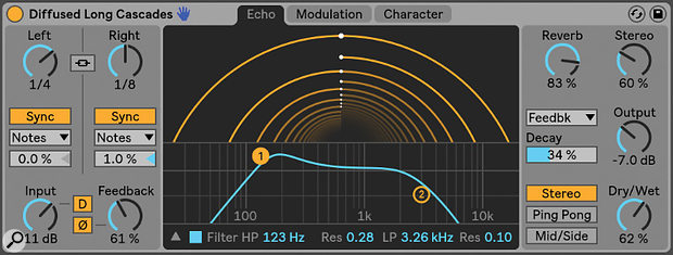 Echo is an analogue‑style delay with an unusual and useful animated 'tunnel' interface.