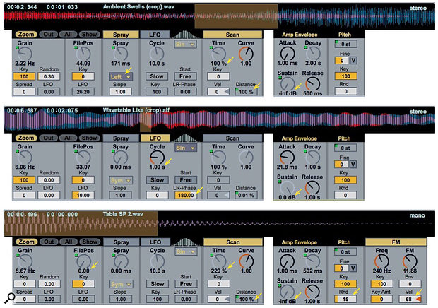 Screen 2: These three Granulator patches use ambient, wavetable and tuned percussion samples. The blue and red colours in the waveform indicate the left and right channels for stereo samples.
