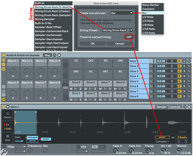 Screen 2: The three Slicing Drum Rack presets result in Drum Racks with pads starting at C1 holding the slices.