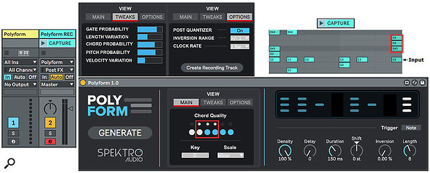 Screen 1. The Polyform track's output is routed to the Polyform REC track to capture generated sequences. You can modify generated sequences in the View Main and View Options tabs as well as with the six knobs at bottom right.