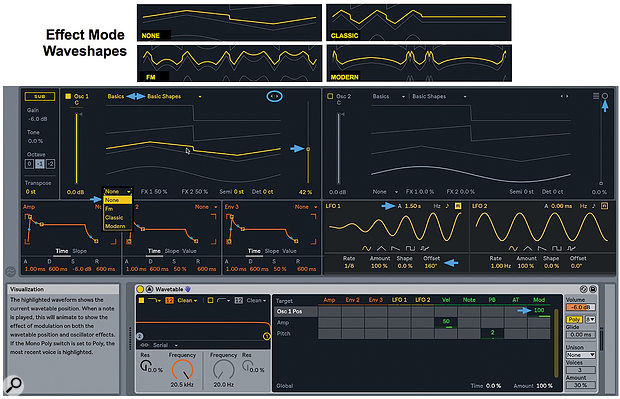 1: In expanded view Wavetable's oscillators, envelopes and LFOs are displayed above its filters, modulation and output settings. Waveform graphs (top) illustrate Wavetable's FM, Classic and Modern oscillator effects.