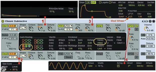 Screen 1: This classic setup for Live's Analog instrument emulates early performance synths. Analog's central display differs for each shell module. See the main text for details.