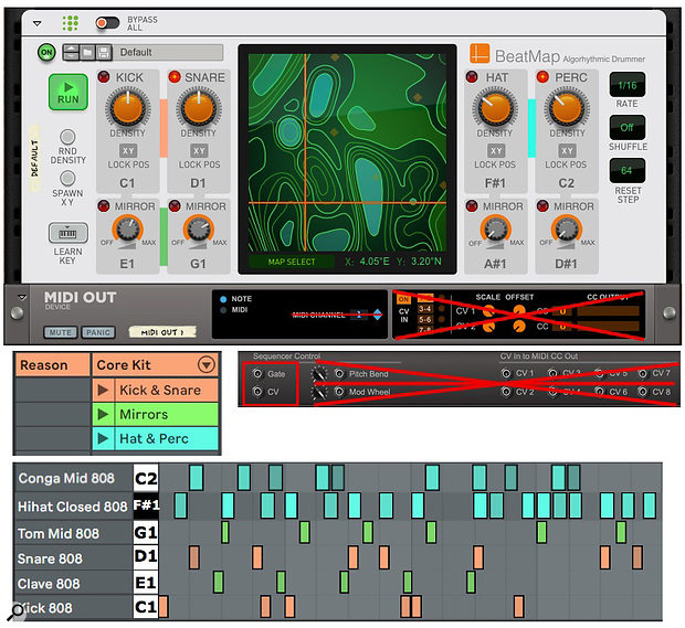 Screen 1: The six kit-piece pattern shown at the bottom was generated by the Beat Map settings shown above and sent to Live using the MIDI Out. device.