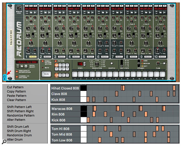Screen 4: Three Redrum patterns generated using the Shift, Randomize and Alter Drum otpions followed by some manual editing are dragged to Live as separate kit-piece clips.